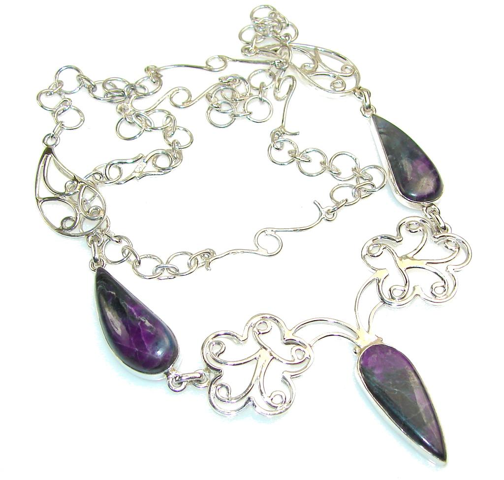 Delicate Purple Charoite Sterling Silver Necklace