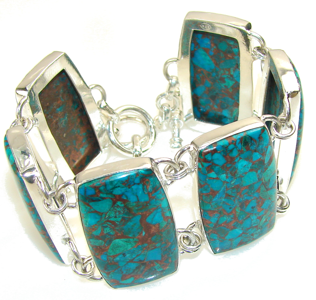 Amazing Crushed Copper Azurite Sterling Silver Bracelet