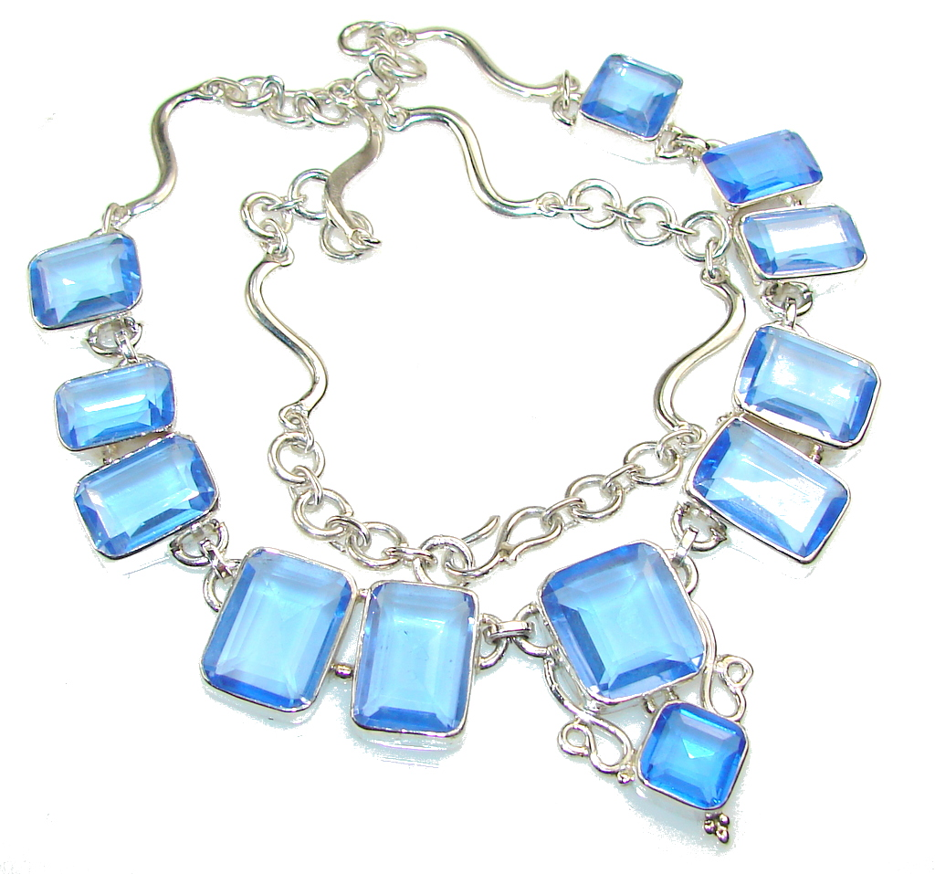 Awesome Created Tanzanite Sterling Silver necklace