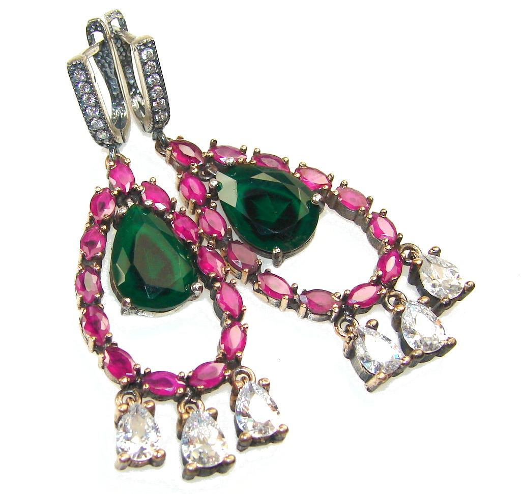 Island Fantasy!!Green Emerald Quartz Sterling Silver earrings