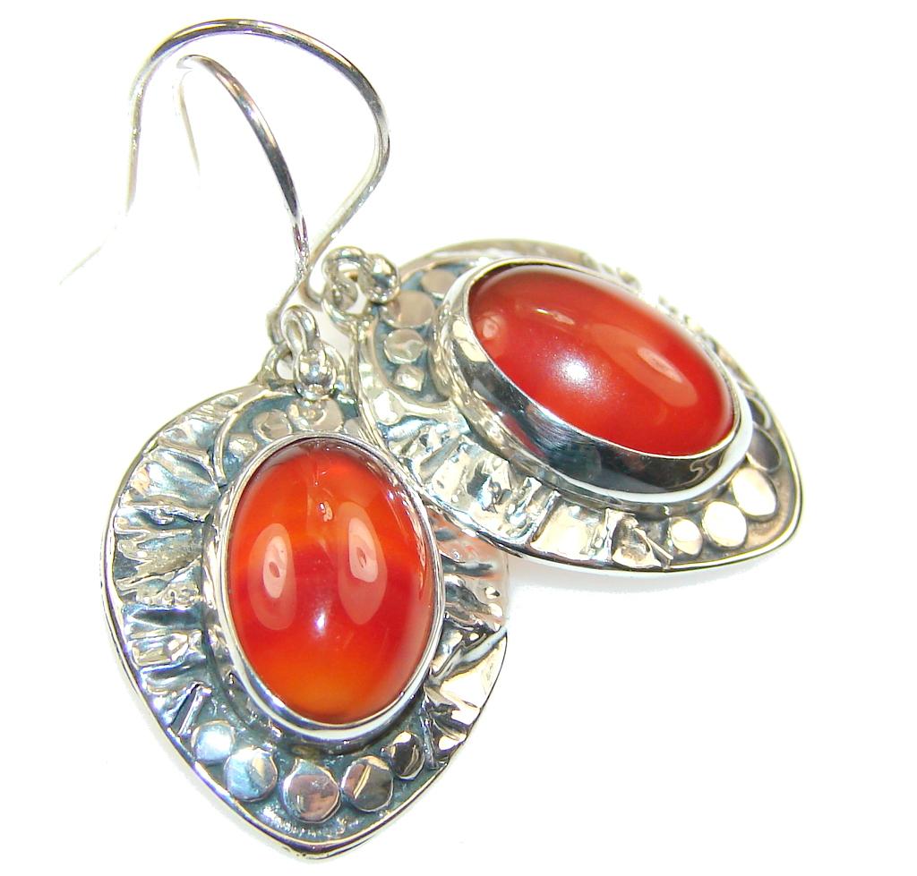 Natural Brown Agate Sterling Silver earrings