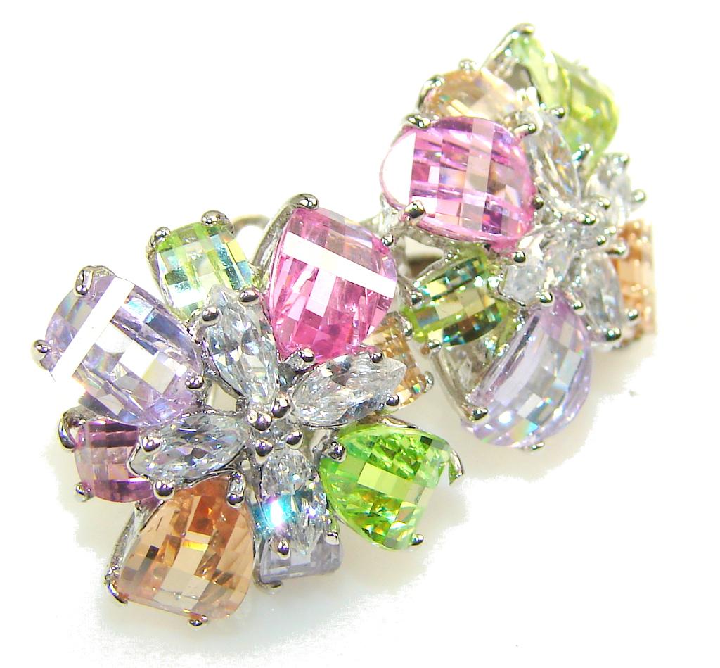 Exotic Multicolor Quartz Sterling Silver Earrings