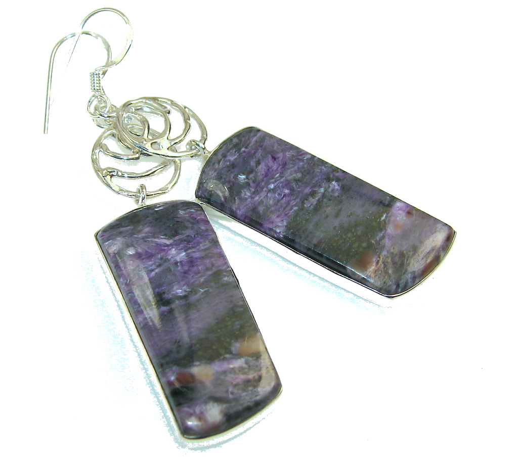 Fabulous Purple Charoite Sterling Silver earrings