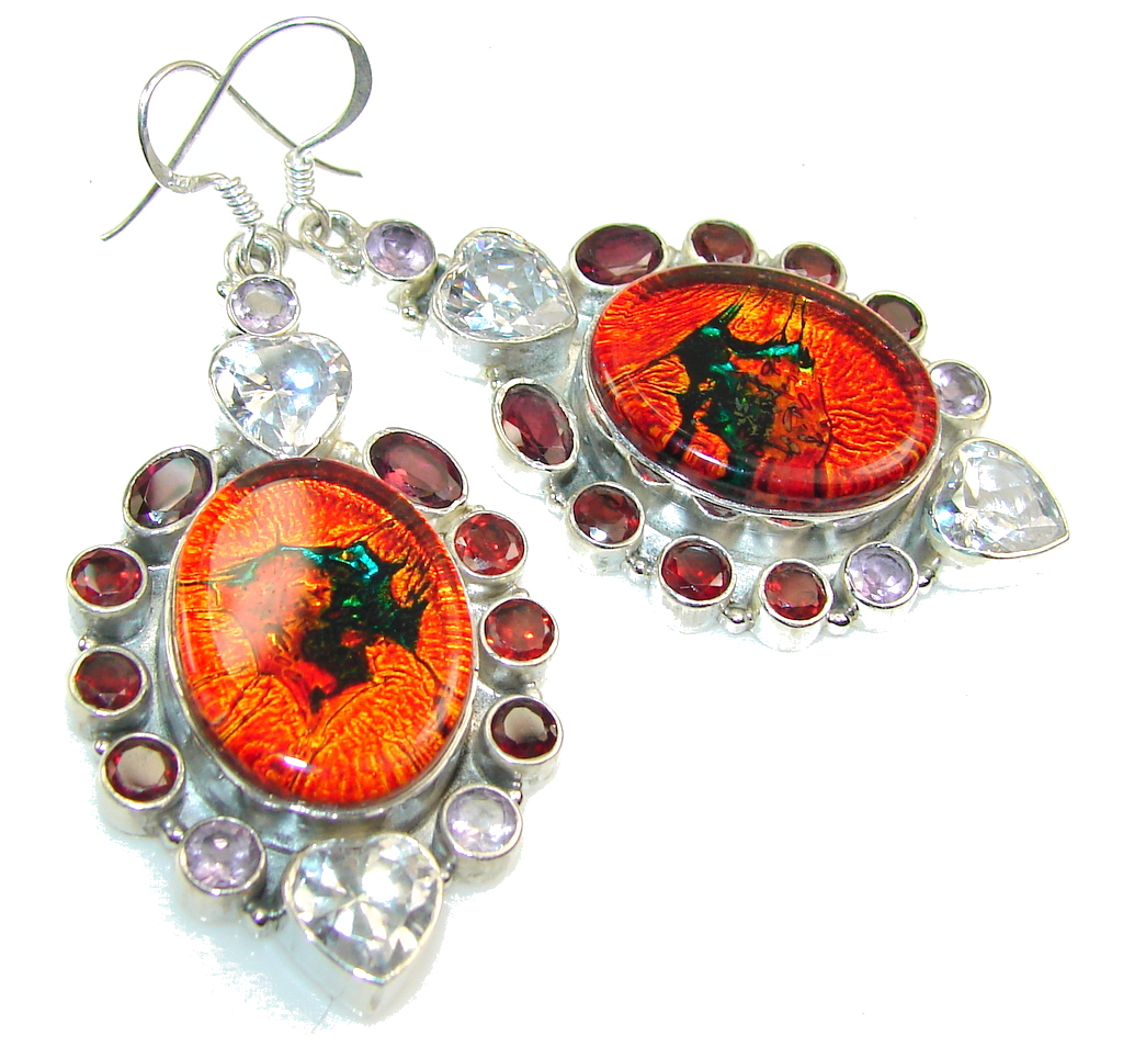 Excellent Dichroic Glass Sterling Silver earrings