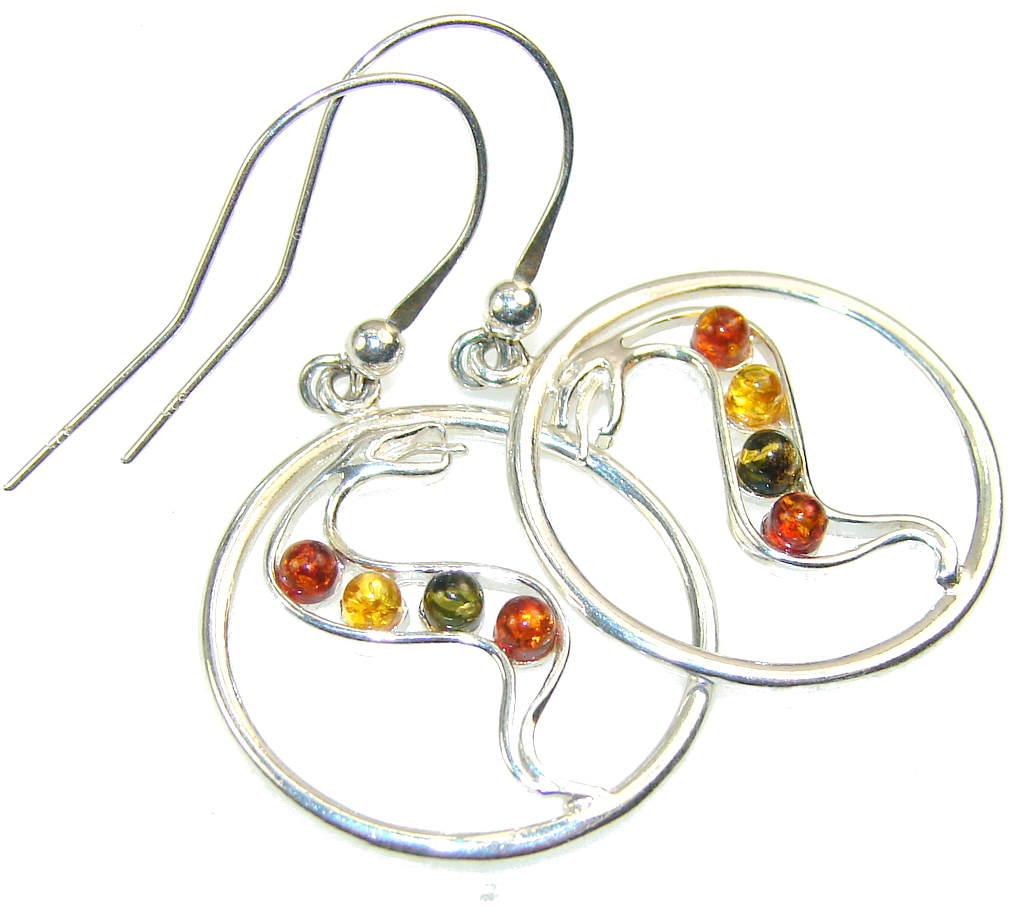 Perfect Multicolor Polish Amber Sterling Silver earrings