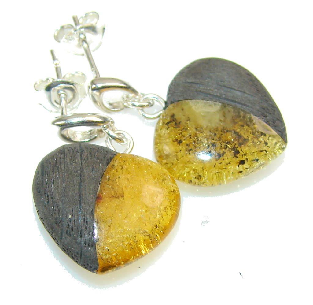 Classic Polish Amber & Oak Wood Sterling Silver earrings