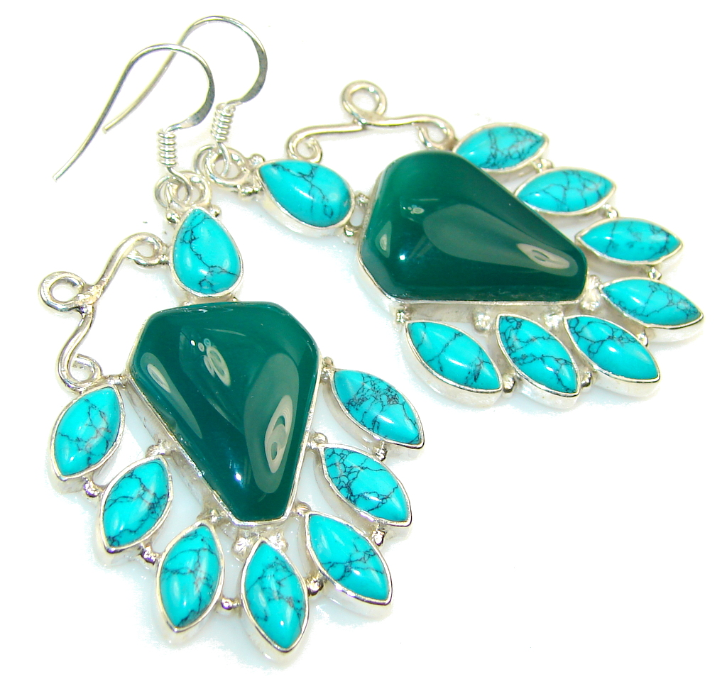 Fantastic Green Agate Sterling Silver earrings