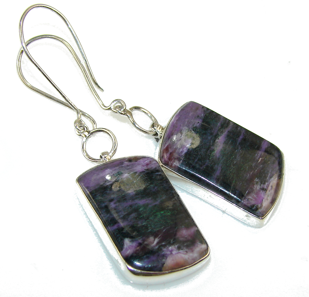 Excellent Siberian Purple Charoite Sterling Silver earrings