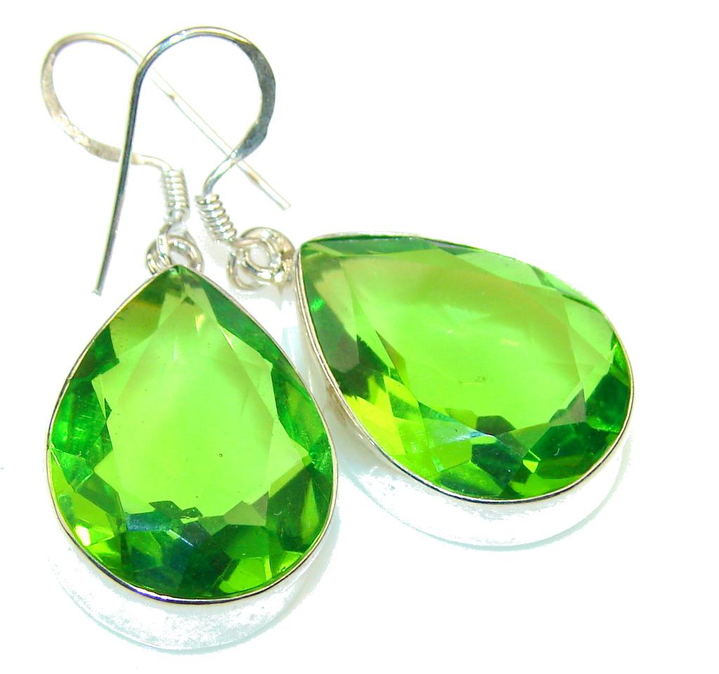 Fresh Green Quartz Sterling Silver earrings
