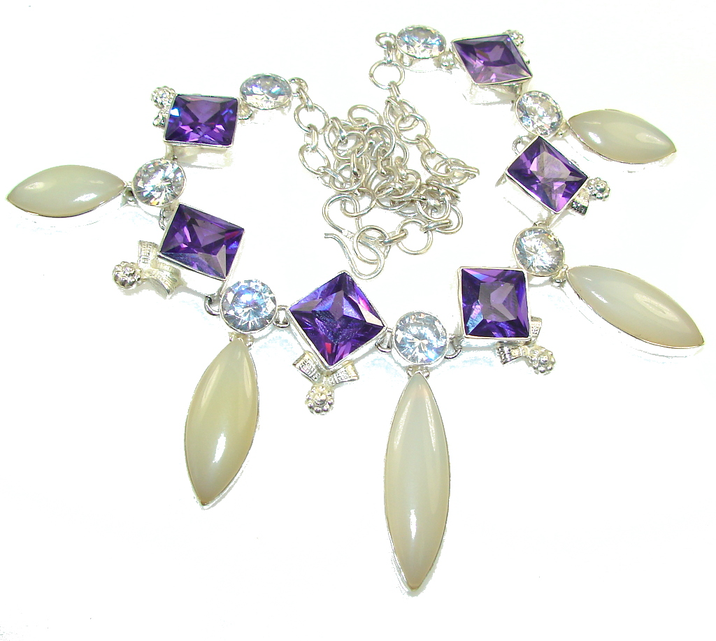 Stylish Design!! Light Yellow Agate Sterling Silver necklace