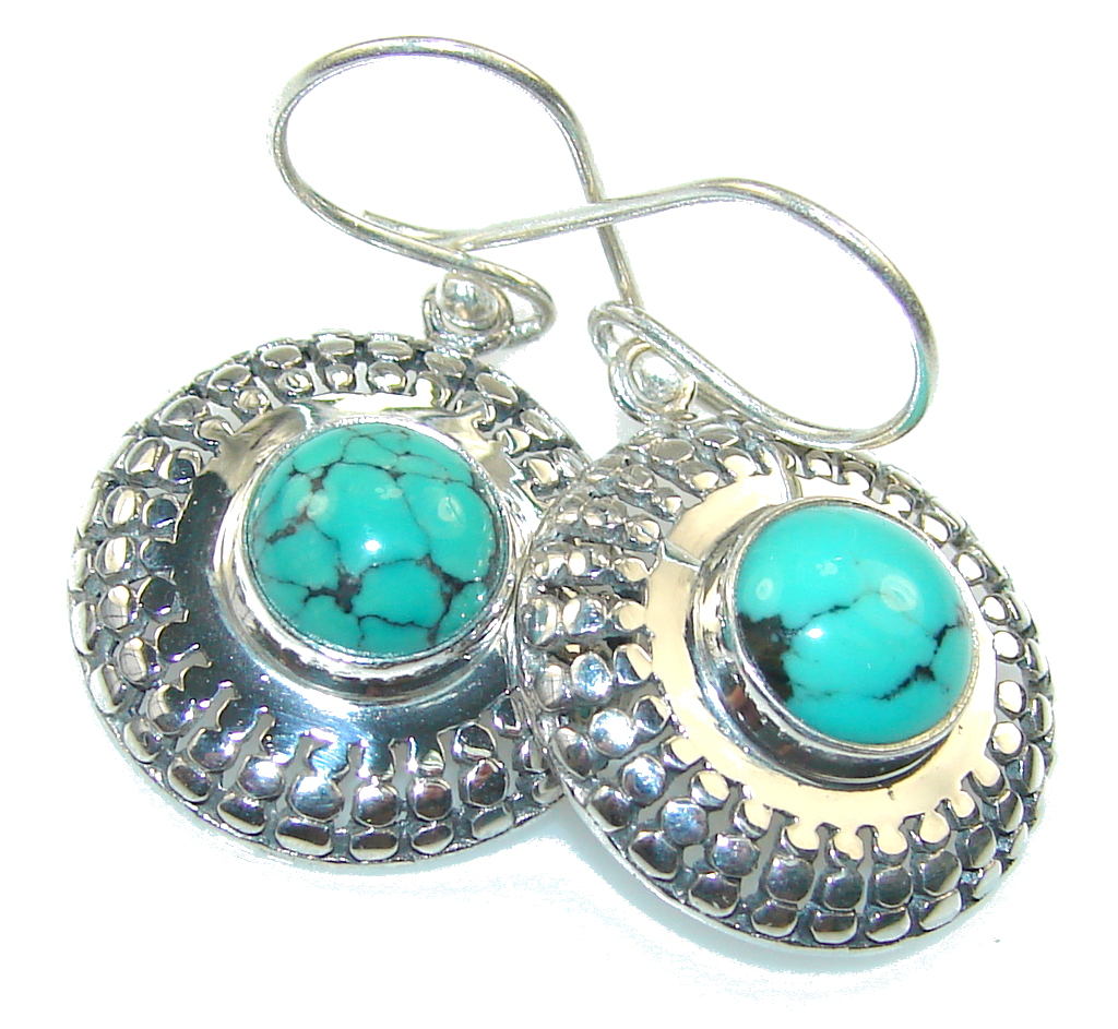 Awesome Color Of Turquoise Sterling Silver earrings