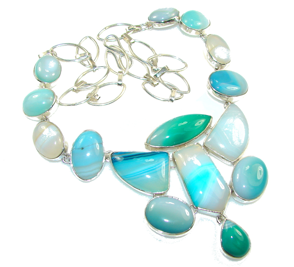 Awesome Design!! Multicolor Agate Sterling Silver necklace