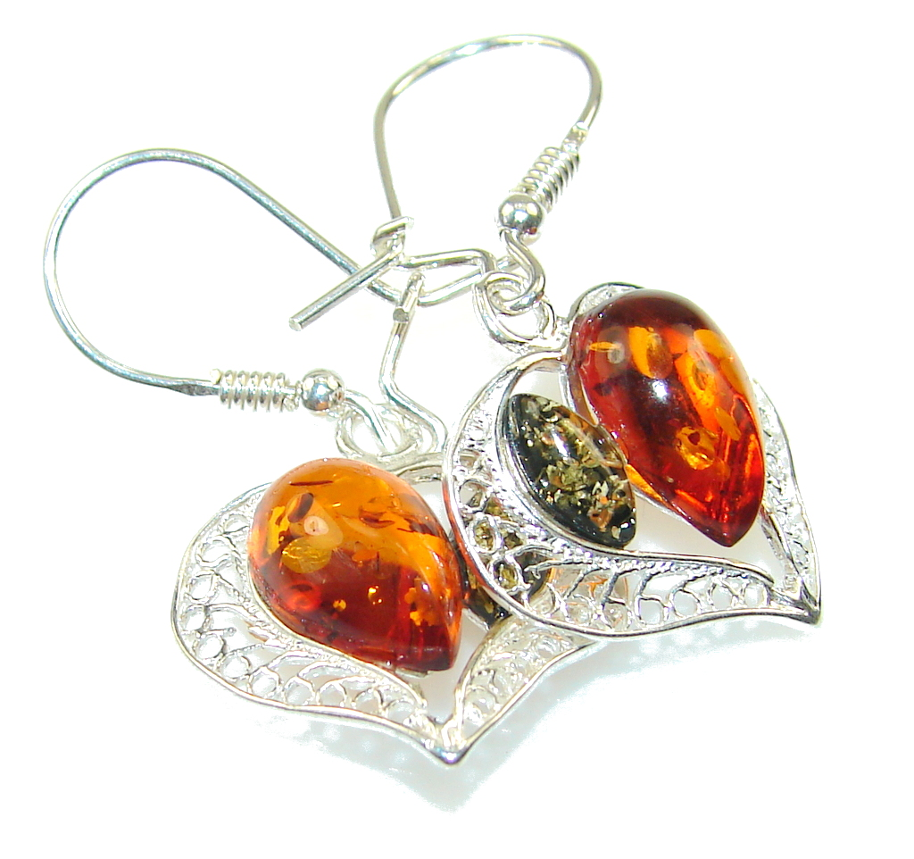 True Love!! Multicolor Polish Amber Sterling Silver Earrings