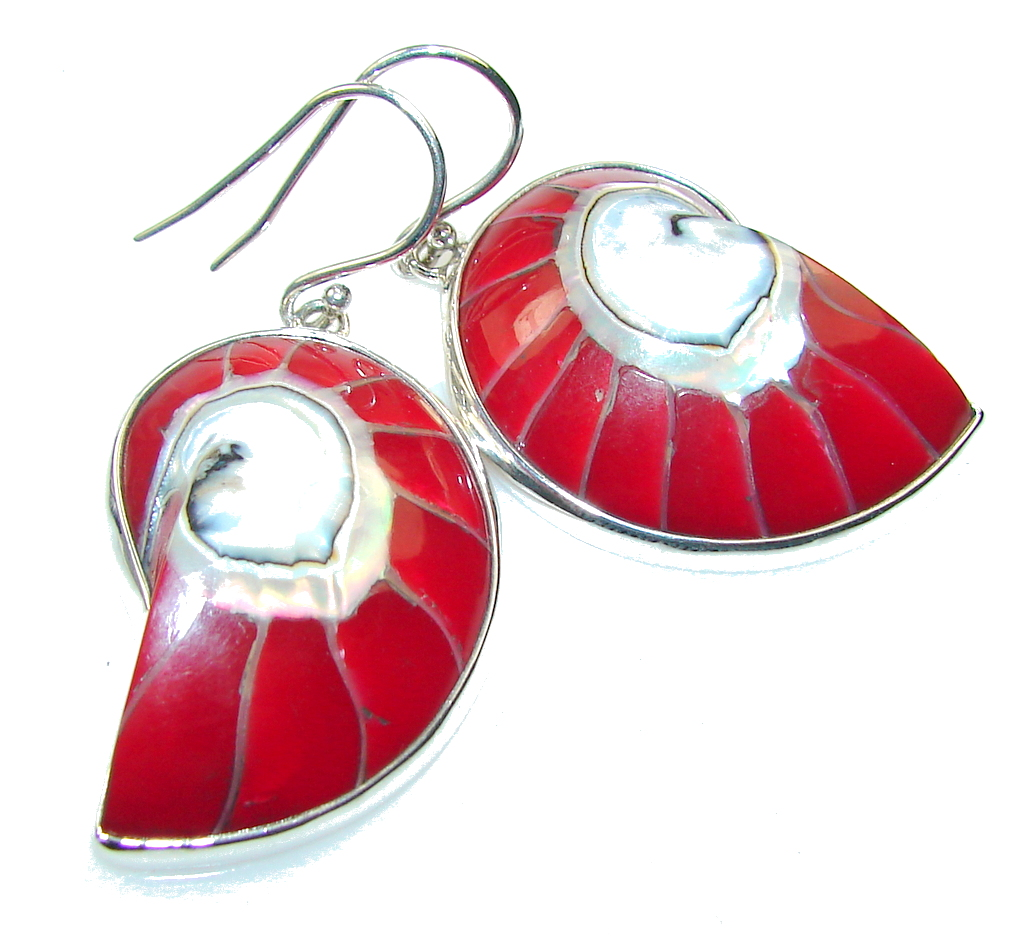 Amazing Red Ocean Shell Sterling Silver earrings