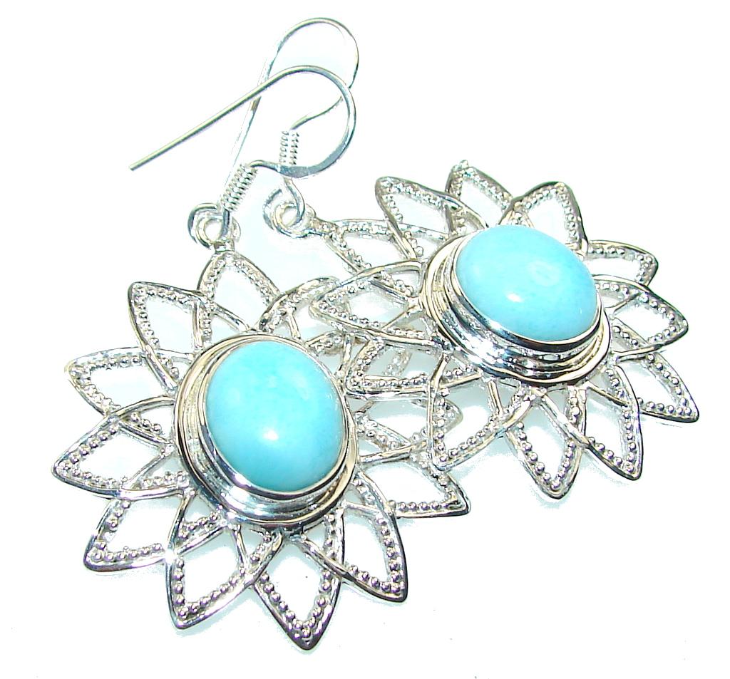 Awesome Design!! Light Blue Larimar Sterling Silver earrings