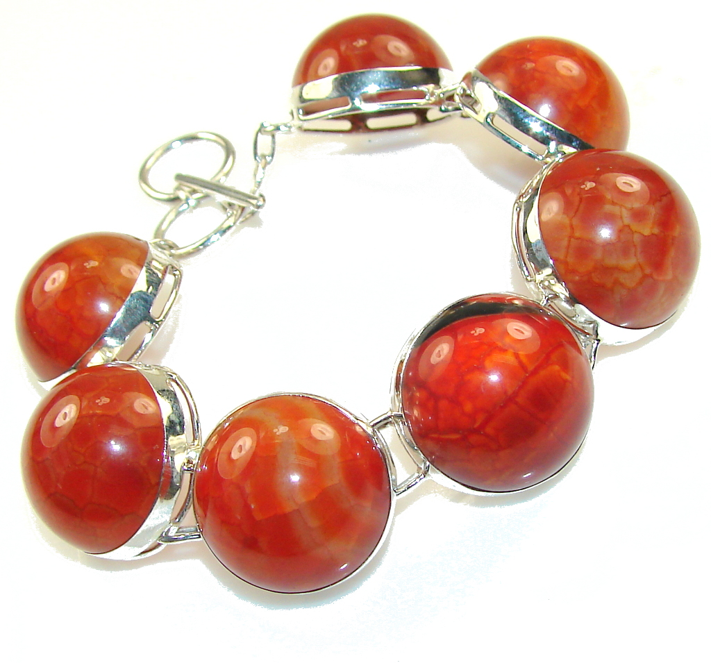 Beautiful Mexican Fire Agate Sterling Silver Bracelet