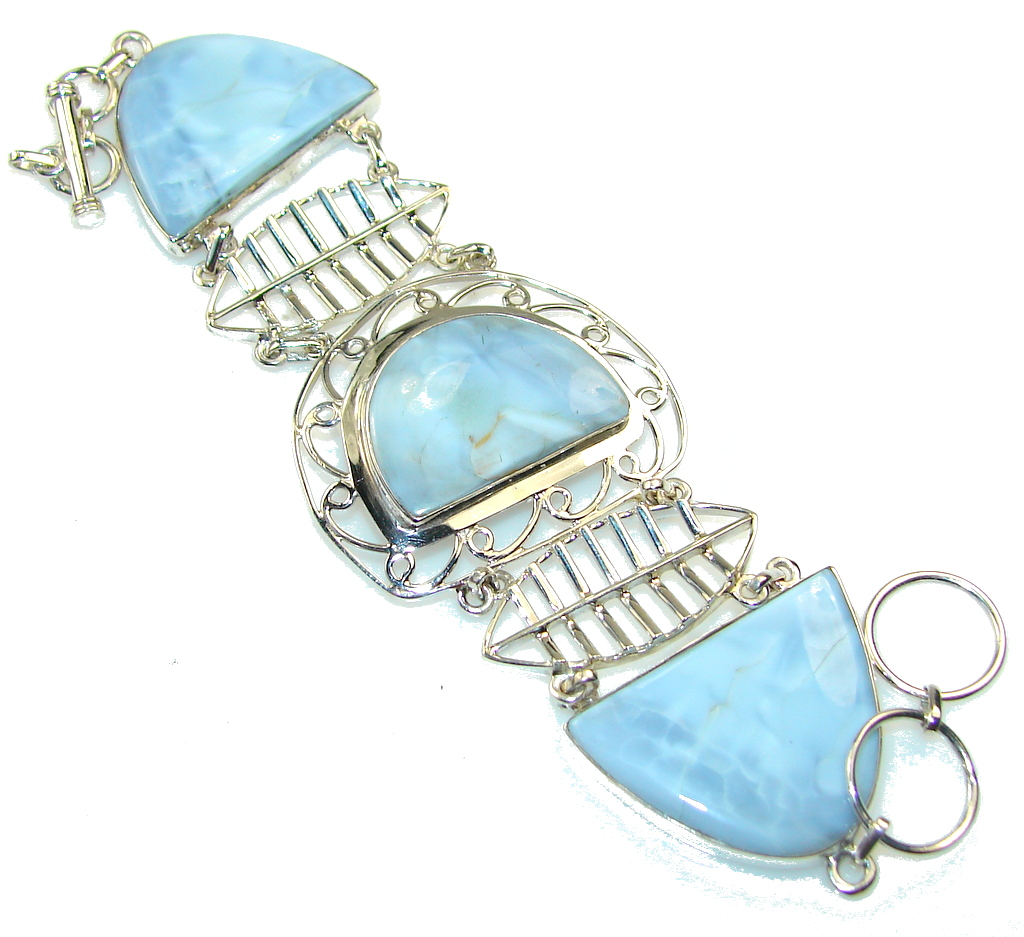 Excellent Blue Agate Sterling Silver Bracelet