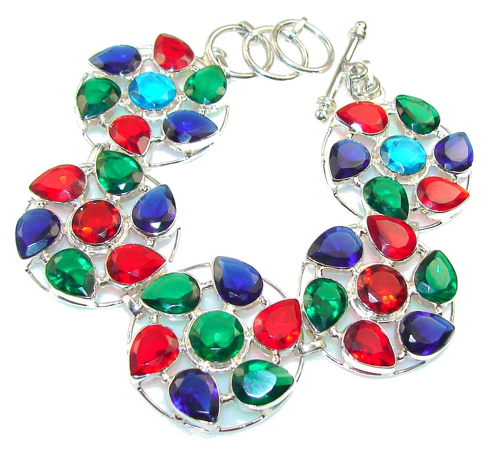 Circle Of Love!! Multicolor Quartz Sterling Silver Bracelet