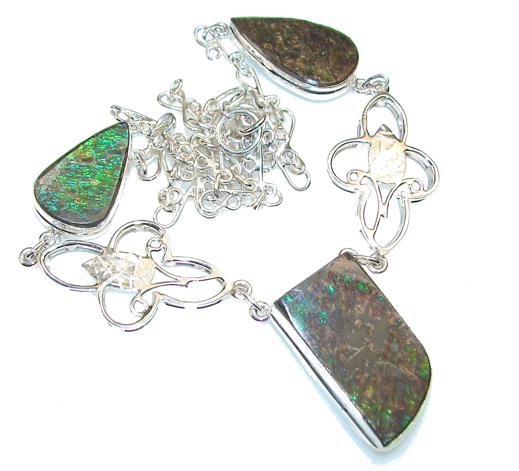 Green Love Attraction!! Ammolite Sterling Silver necklace