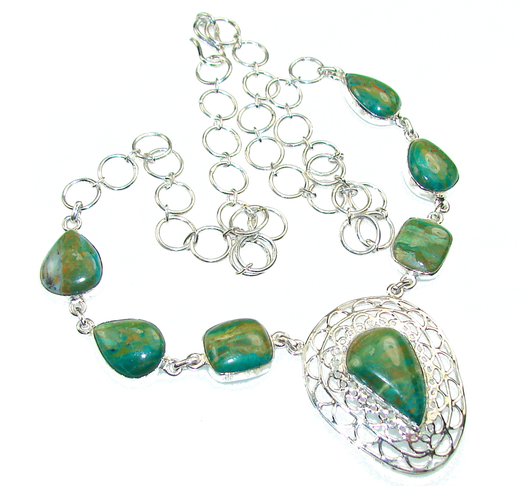 Amazing Green Peruvian Opal Sterling Silver Necklace