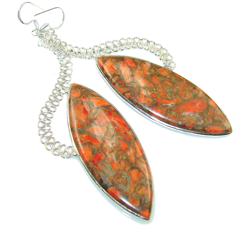 Excellent Orange Copper Turquoise Sterling Silver earrings / Long