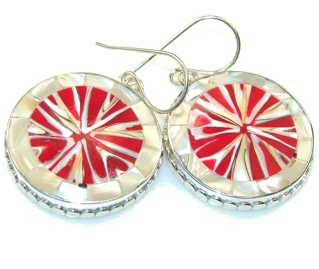Excellent Design!! Red Ocean Shell Sterling Silver earrings