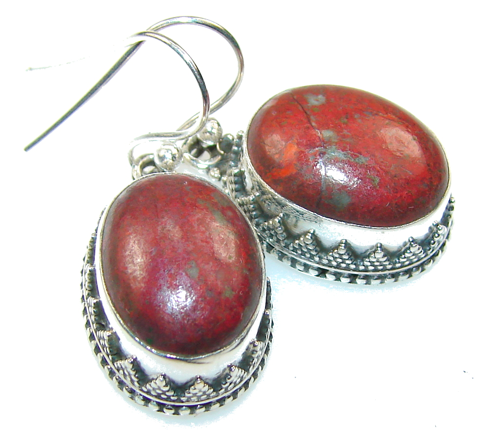 Excellent Red Sonora Jasper Sterling Silver Earrings