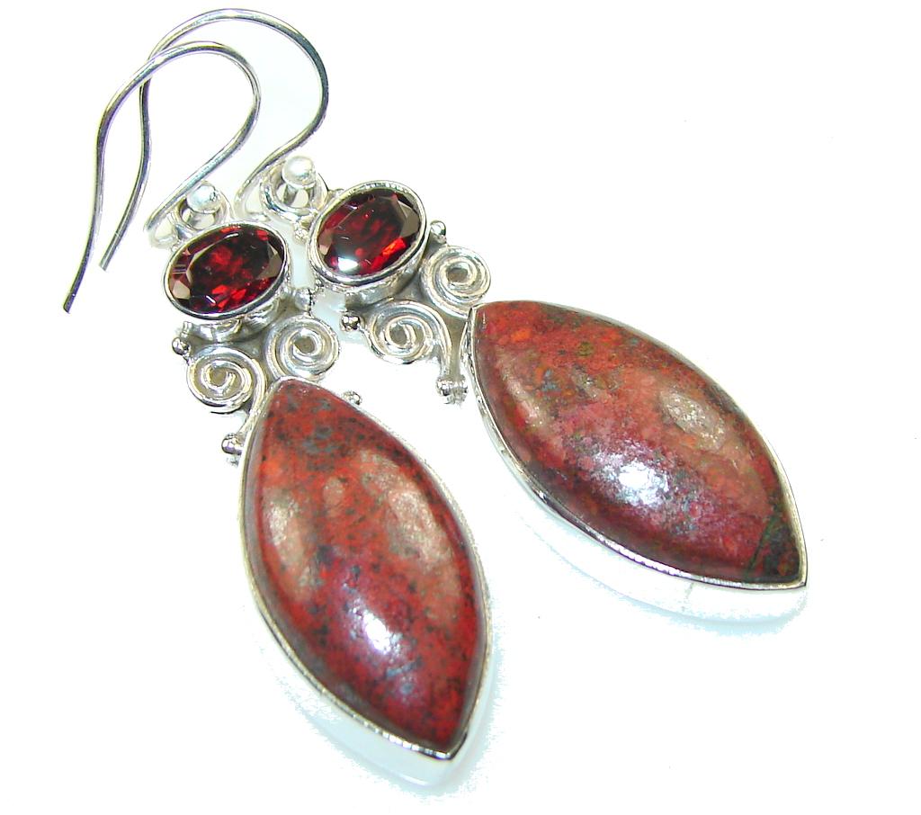 Classy!! Red Jasper Sterling Silver Earrings