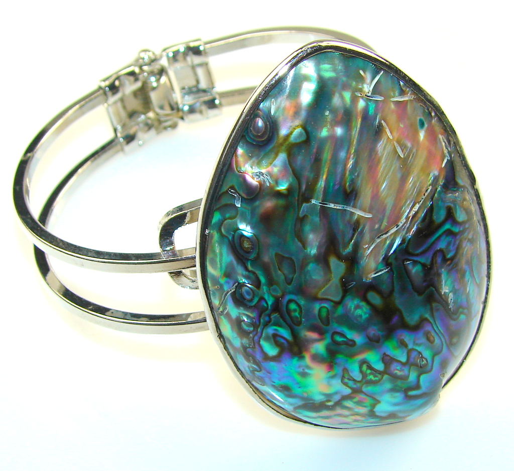 Excellent Rainbow Abalone Silver Plated Bracelet