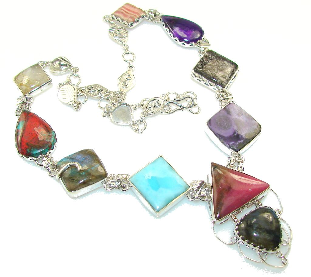 Amazing Design!! Multigem Sterling Silver Necklace