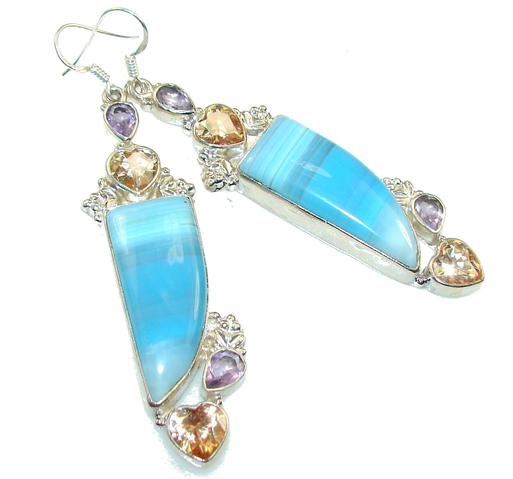 Big!! Fantastic Blue Botswana Agate Sterling Silver earrings / Long