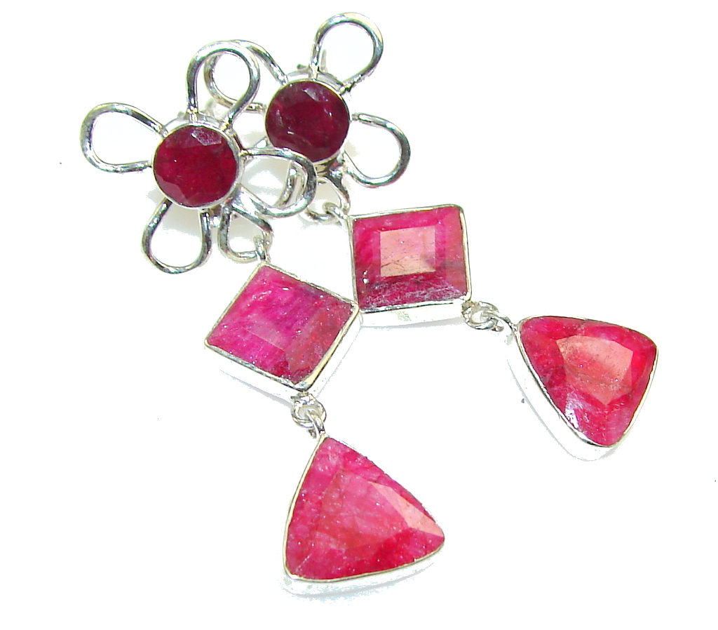 Amazing Pink Ruby Sterling Silver earrings