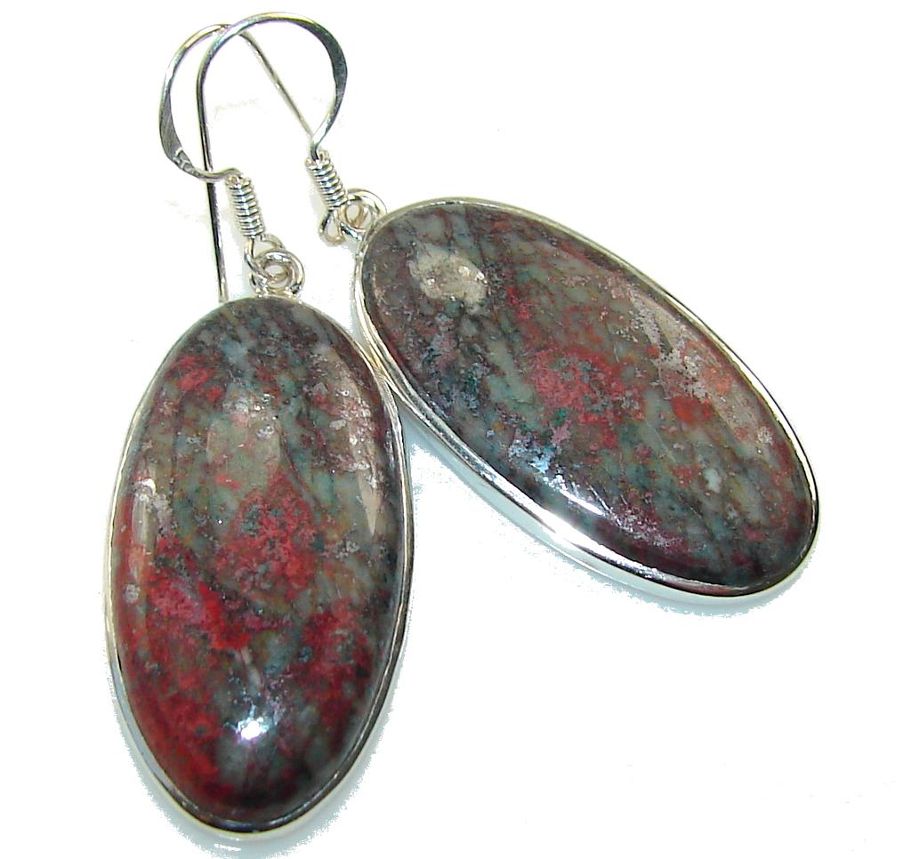Classy!! Red Sonora Jasper Sterling Silver earrings