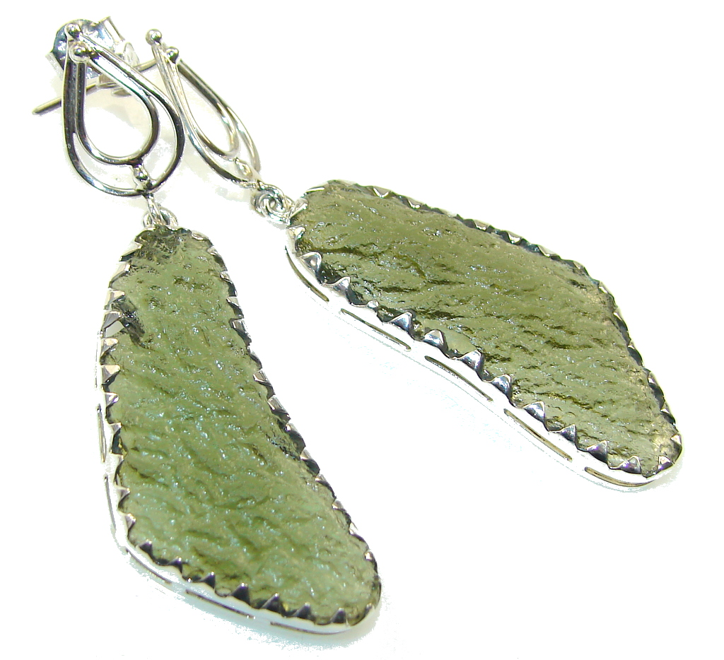 Empress!! Green Moldavite Silver Sterling earrings