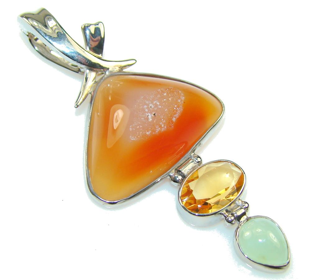 Amazing Orange Agate Druzy Sterling Silver Pendant