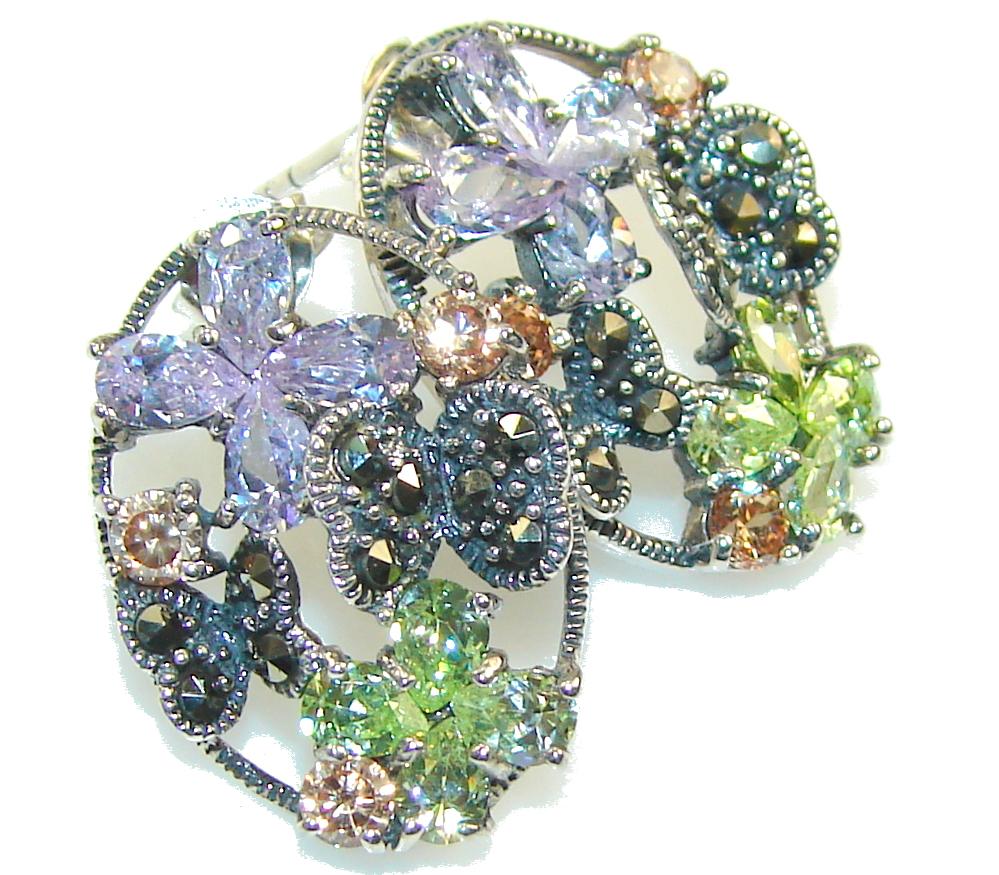 Amazing Multicolor Quartz Sterling Silver earrings