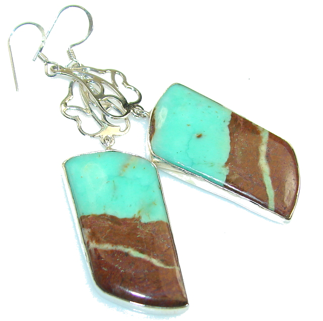 Fabulous Peruvian Green Opal Sterling Silver earrings