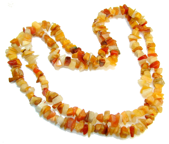 Rare Unusual Natural Carnelian Beads Strand Necklace