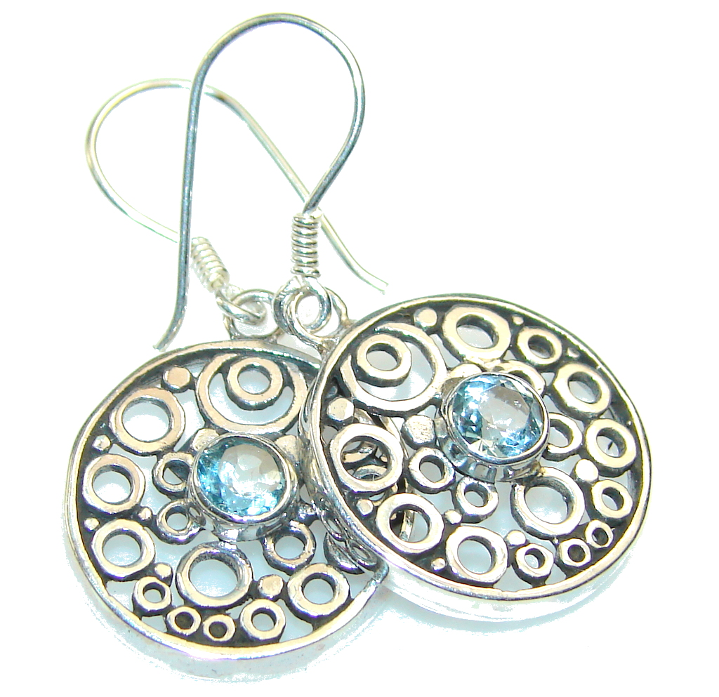 Fashion Swiss Blue Topaz Sterling Silver earrings