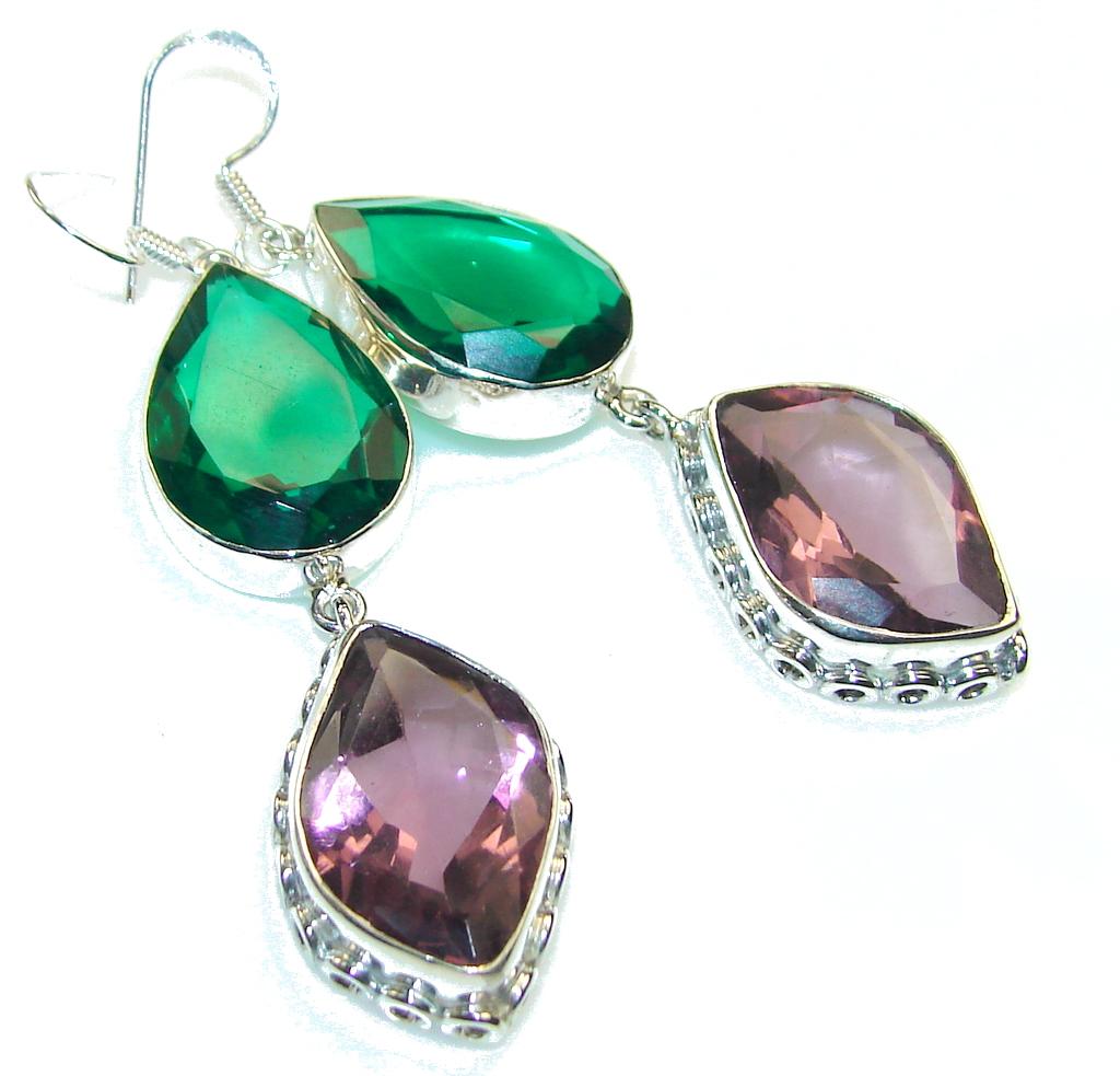 Fresh Green Chrome Diopside Quartz Sterling Silver earrings