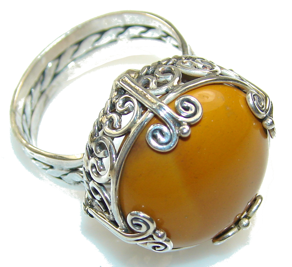 Excellent Brown Agate Sterling Silver Ring s. 10