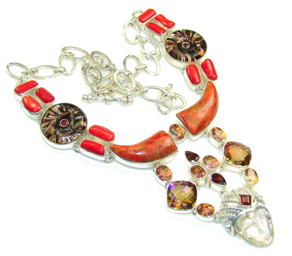 Gorgeous Design! Natural Coral Sterling Silver Necklace