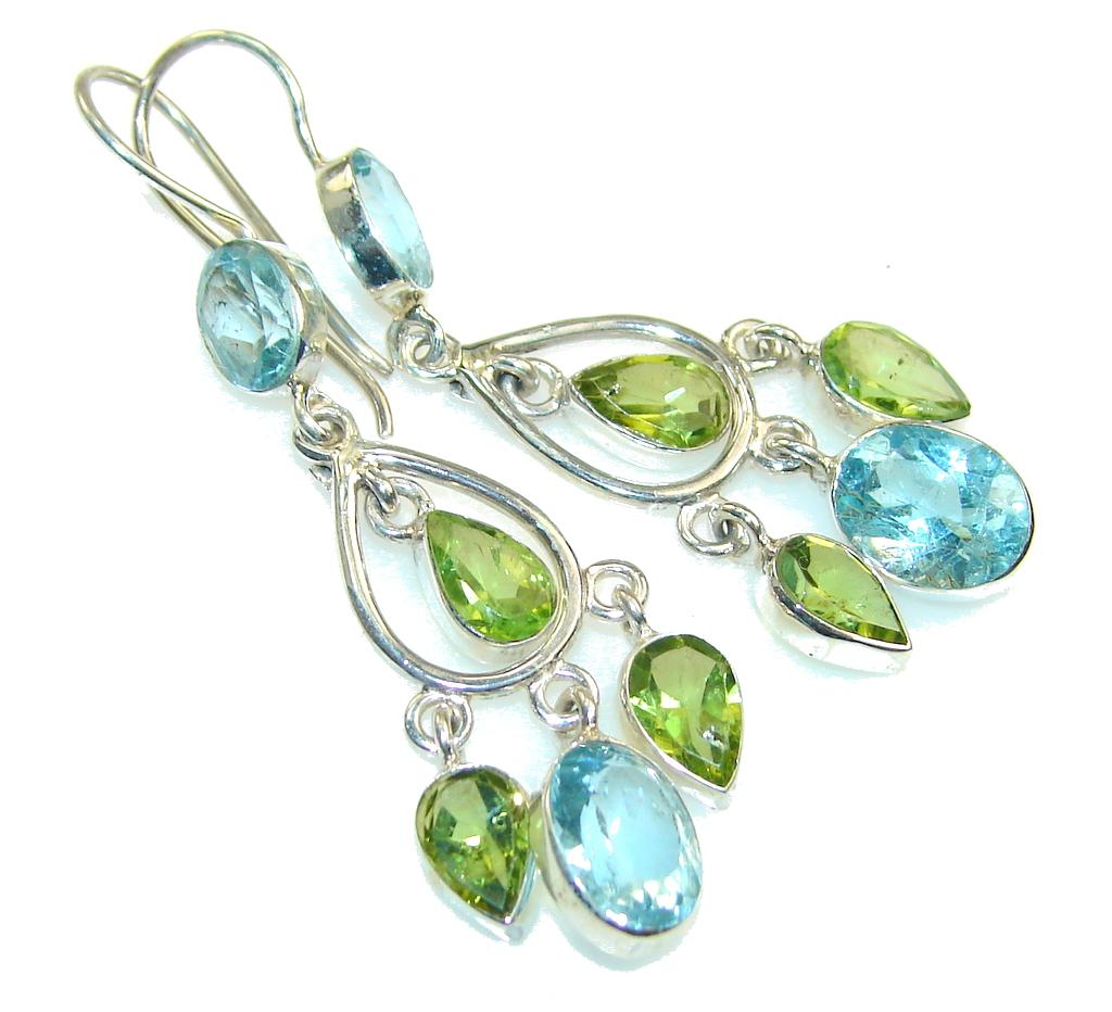 Jumbo! Swiss Blue Topaz Sterling Silver earrings