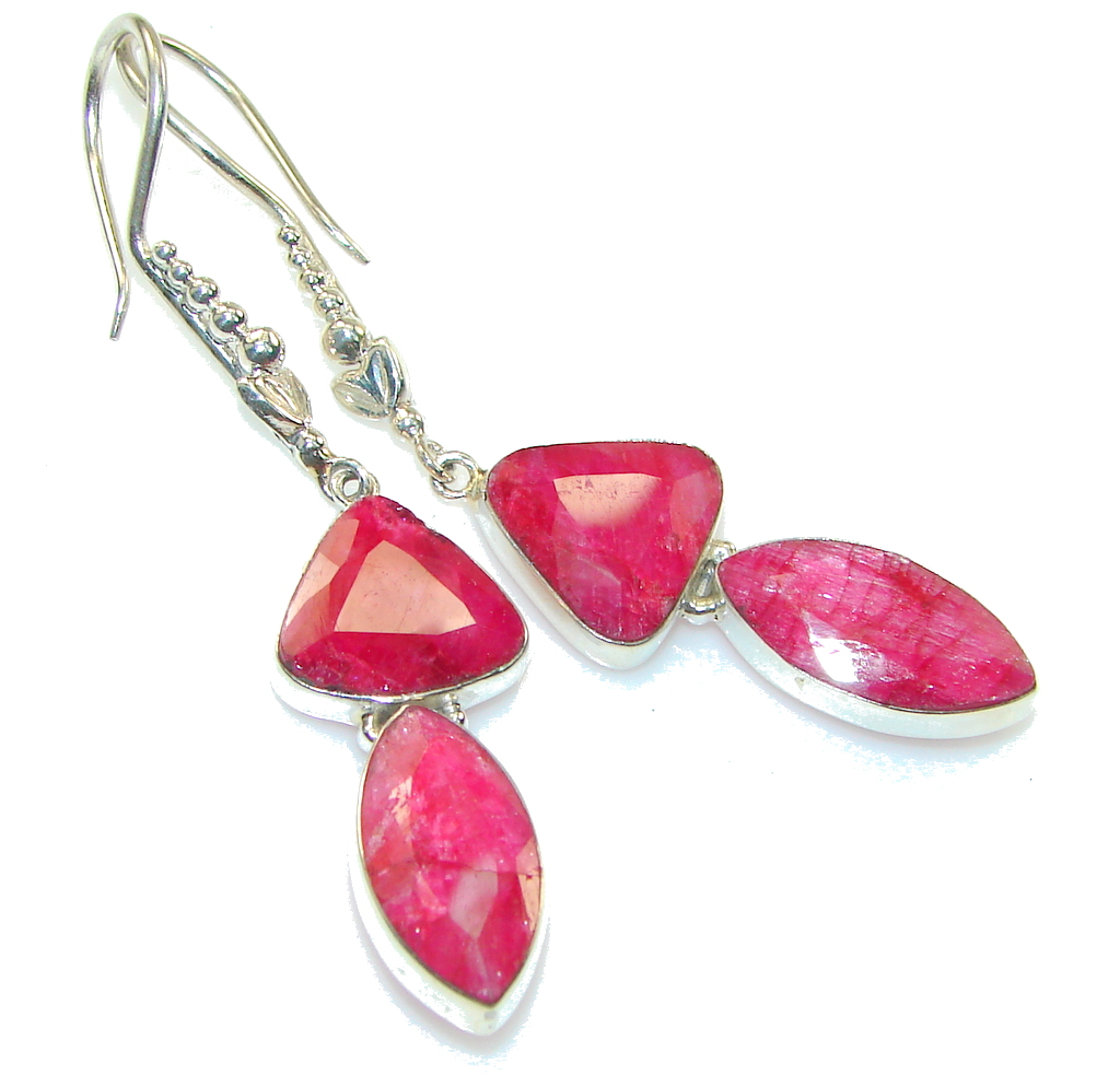 Big! True LOve!! Red Ruby Sterling Silver earrings