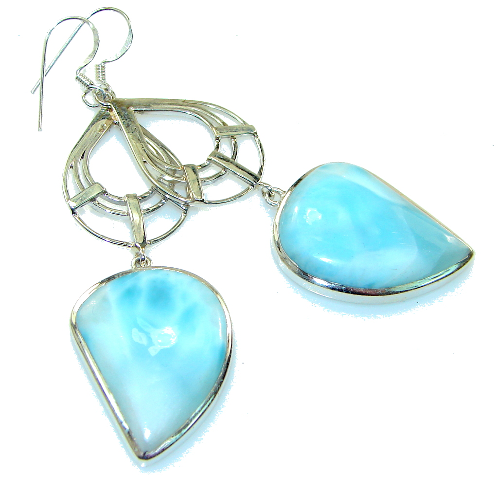 Big!! Amazing Light Blue Larimar Sterling Silver earrings