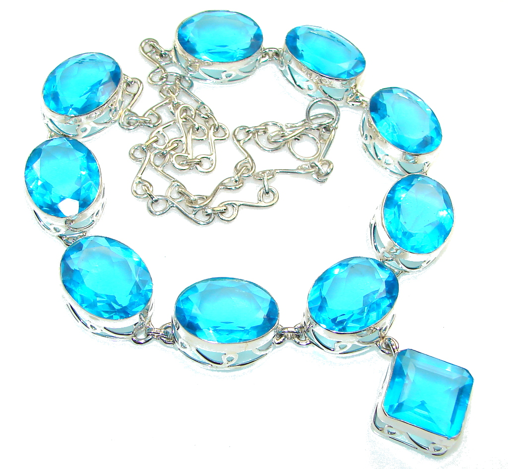 Amazing Created Blue Topaz Sapphire Sterling Silver necklace