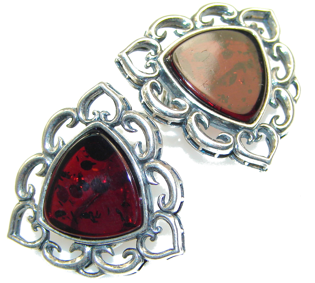 The One!! Polish Amber Sterling Silver earrings