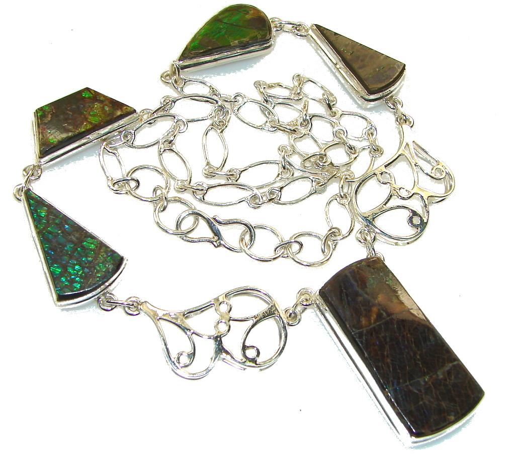 Stylish Design!! Ammolite Sterling Silver necklace