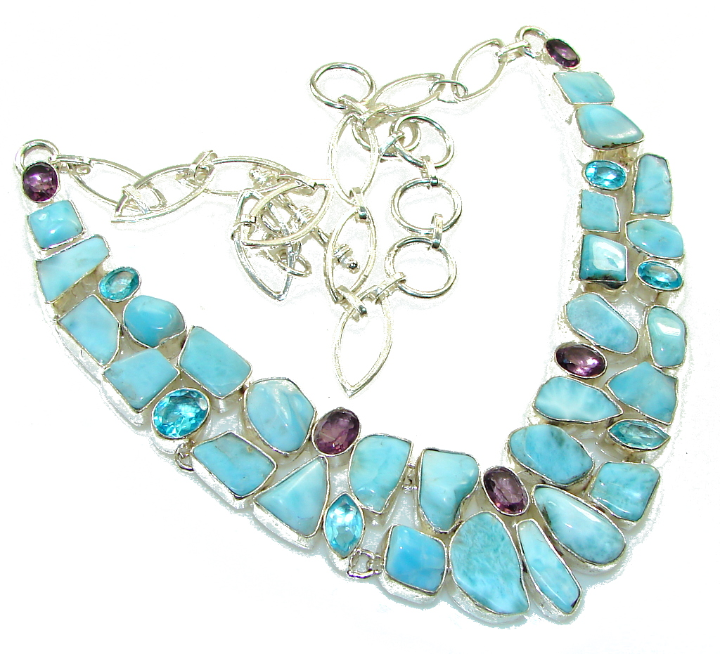 Aqua Grece!! Blue Larimar Sterling Silver necklace