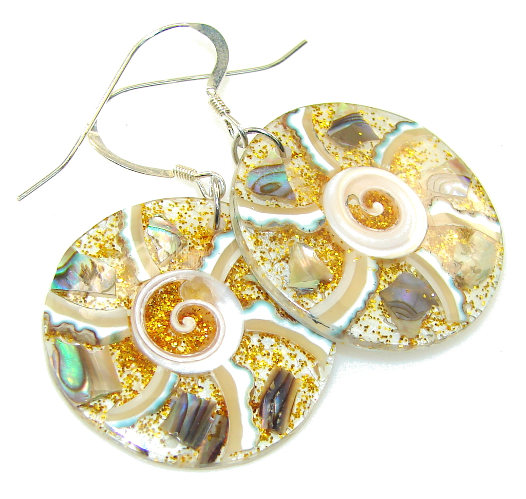 Fabulous Rainbow Ocean Shell Sterling Silver earrings